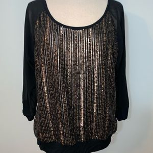 Express sequin front sheer sleeve blouse